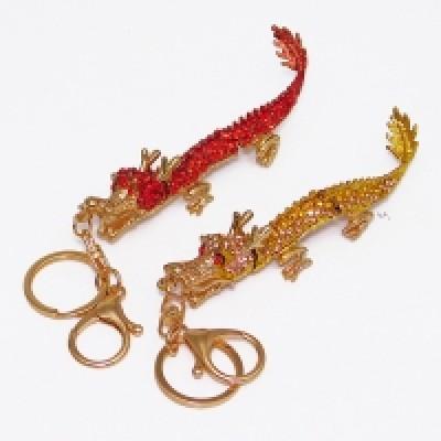 """Брелок для ключей """"Дракон"""", металл, эмаль, стразы 19*2,5*2,5 см"""