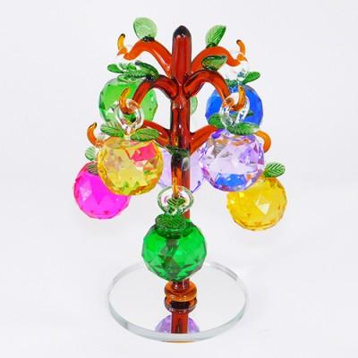 """Декоративная композиция из стекла """"Дерево с яблоками"""","""