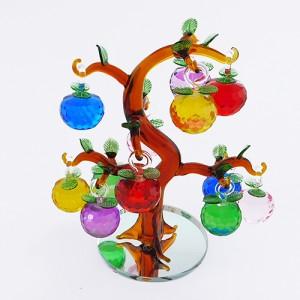 """Декоративная композиция из стекла """"Дерево с яблоками""""."""