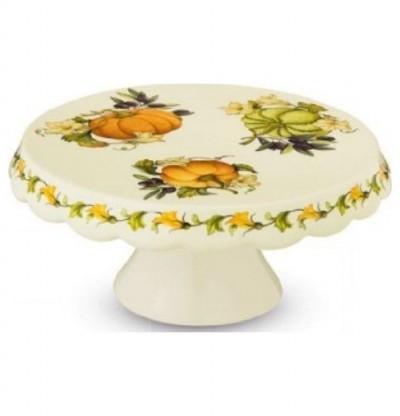 Блюдо для торта на ножке 27см artigianato ceramico Тыква