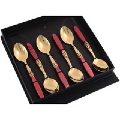 Набор чайных ложек,золотистый/рубиновый, Domus&Design