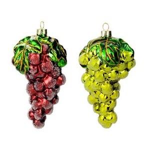Гроздь винограда асс. из 2-х: зеленая, бордо (стекло) 6,4х12 см