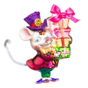 Символ Года - Мышь Джентльмен с подарками (стекло).