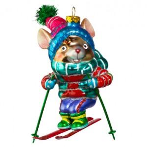 Символ Года - Мышь лыжник (стекло) 9,6х12,7 см