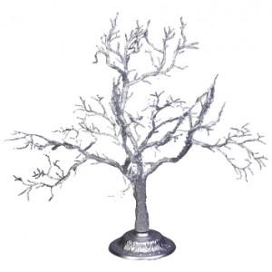 Дерево декоративное искристое серебряное