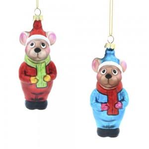 """Новогоднее украшение """"Мышка"""", стекло L4,6 W4,7 H12 см"""