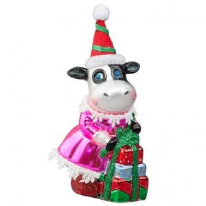 "Корова ""Мисс в розовом"" с подарками (стекло) 7х7х14,5 см"