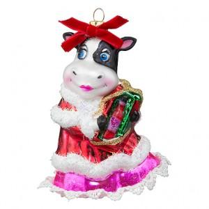 """Корова """"Рождественский вечер"""" с подарком (стекло) 8,5х6х12 см"""