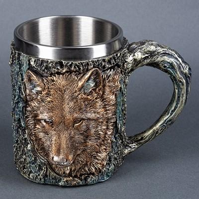 """Кружка """"Волк"""", нержавеющая сталь/искусственный камень."""