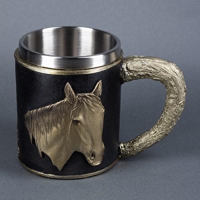 """Кружка """"Лошадь"""", нержавеющая сталь/искусственный камень."""